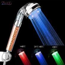 Zloog banheiro quente 3/7 mudando a cor led chuveiro cabeça de controle temperatura alta pressão mão filtro anion spa cabeça chuveiro