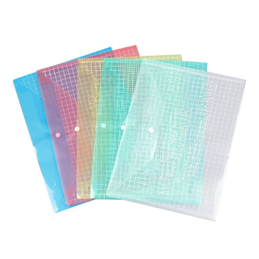 A4 File Cover Candy Color Transparent Plastic Button Grid PVC Portfolio Bag Stationery A4 Clip Company Custom File Bag