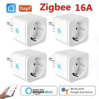 Tuya Smart Zigbee Plug 16A ue Outlet 3680W Monitor zasilania licznik czasowy kompatybilny z Alexa zigbee2mqtt Home Assistant Tuya Hub