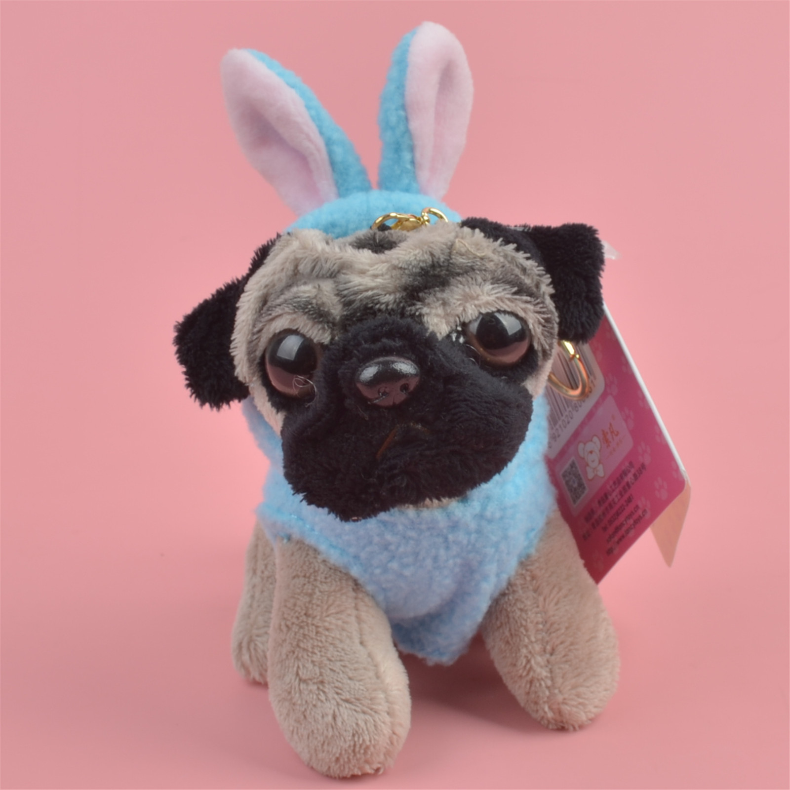 Blue Rabbit Cloth Pug Dog Animals stuffed Pendant Keyring Plush Toy, Puppy Backpack Decoration  Keychain / Keyholder Gift