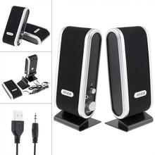 Usb2.0 6w Wired Usb Power Speakers Stereo 3.5mm Audio Jack For Pc Laptop Computer Mac Mini Plastic Headphones Microphone