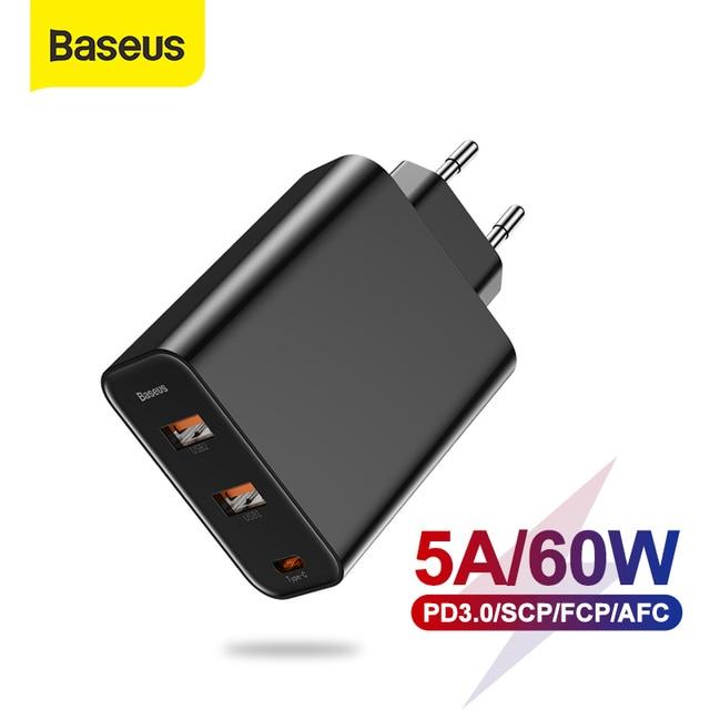 Chargeur USB Baseus 3 Ports avec PD3.0 chargeur rapide pour iPhone 11 Pro Max Xr 60W Charge rapide 4.0 FCP SCP pour Redmi Note 7 Xiaomi