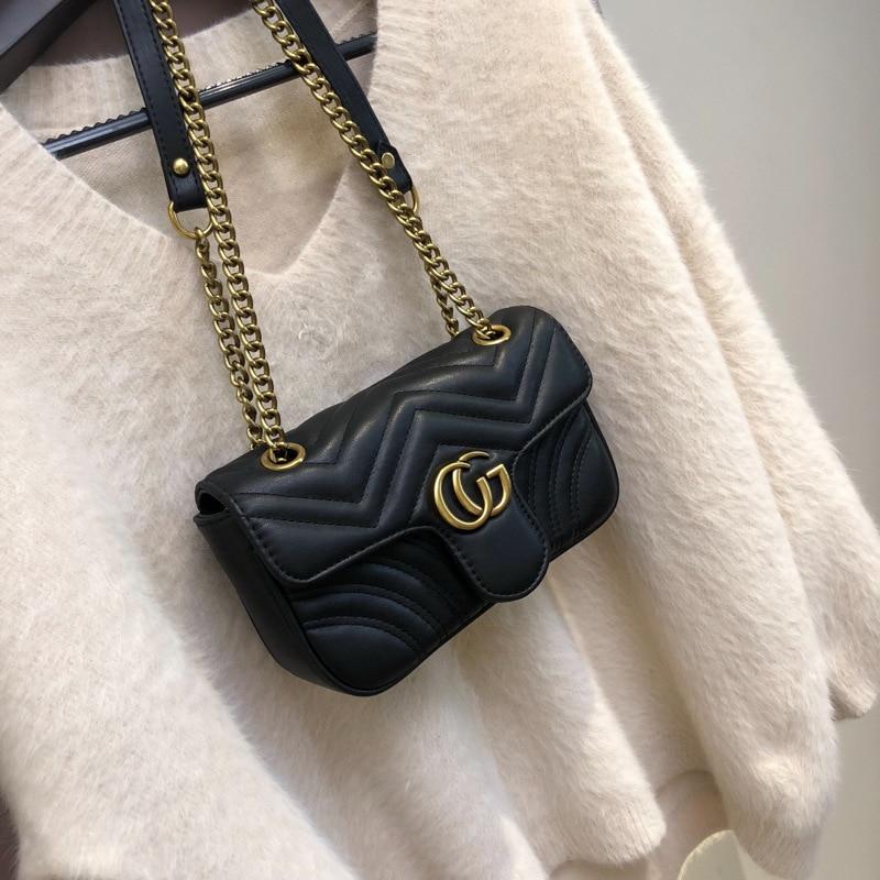 New Tide Brand Net Red Black Bag Super Fire Handbag Chain Wild Messenger Bag Shoulder Bag Clothing Decoration Bag Clutch