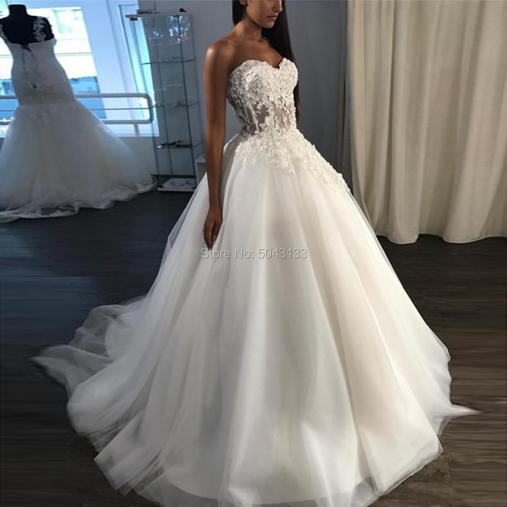 Vintage Appliques Ball Gown Wedding Dresses 2019 Sweetheart Lace Bodice Soft Tulle Wedding Bridal Gowns Sleeveless Bride Dress