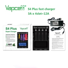 Nieuwe Upgrade Versie Vapcell S4 Plus Ontlader/Capaciteit Test/Repiar Fast Charger Verstelbare 3A 4 Slot Met De adapter Oplader