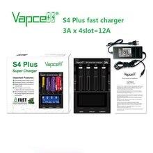 새로운 업그레이드 버전 Vapcell S4 plus 방전기/용량 테스트/repiar 고속 충전기 조정 가능한 3A 4 슬롯 어댑터 충전기 포함