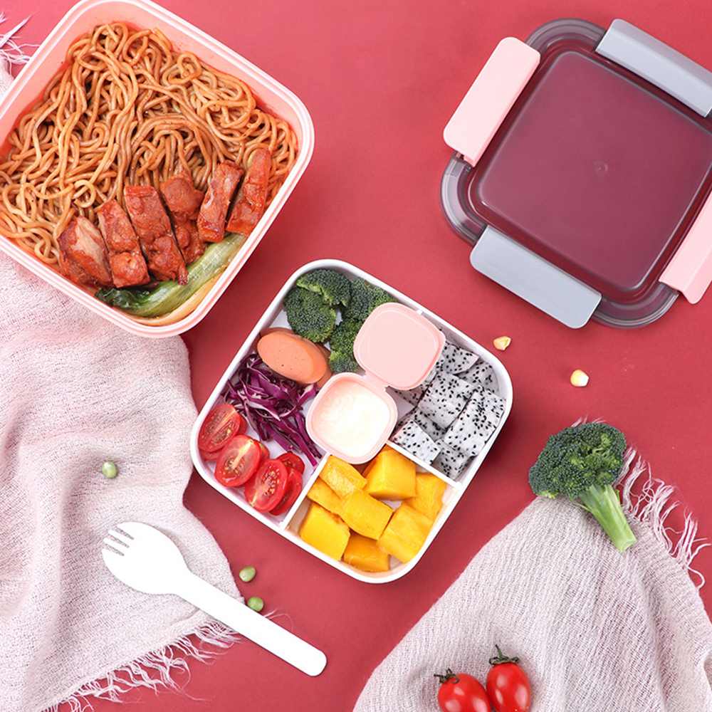 Separate Plastic Lunch Box Sealed Lunch Box Student Office Worker Heating  Lid Spoon Bento Microwave Oven