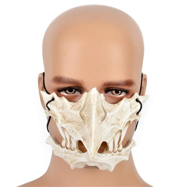 Japanese Dragon God Mask Cosplay PU Tengu Mask White Skull Scary Half Face Mask for Halloween 4