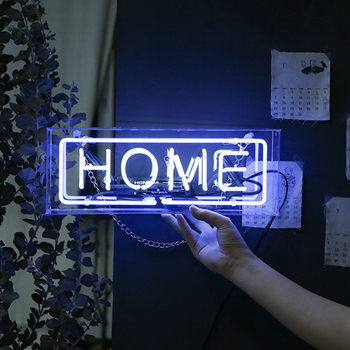 Glass Neon Light Led Box Party Wall Hanging Bar Atmosphere Decoration Shop Window Wedding Word Sign Art Photography Prop Home fine art wedding photography
