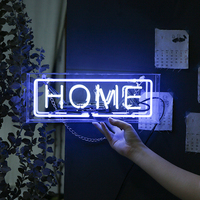 Glass Neon Light Led Box Party Wall Hanging Bar Atmosphere Decoration Shop Window Wedding Word Sign Art Photography Prop Home