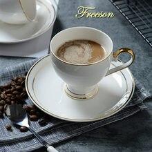 Золотая фарфоровая кофейная чашка блюдце ложка набор 200 мл