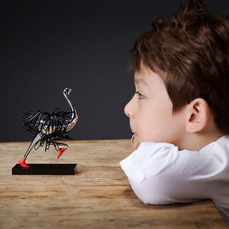 Ostrich Magnetic Desktop Paper Clip Holder Dispenser Office Gift Supplies Decoration