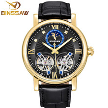 BINSSAW New Automatic Mechanical Watch Luxury Brand Double Tourbillon Casual Leather Waterproof Sports Watches Relogio Masculino