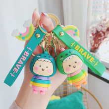 Cute Cartoon Silicone Wrist Strap Keyring Dinosaur Doll Keychain Rainbow Car Key Ring Porte Clef Bag Charm Pendant Accessories(China)