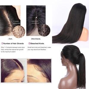 Image 2 - Preplucked焼きストレートレースフロントかつら13 × 4レースフロント人毛かつらブラジルのremy毛晒ノットルフィかつら