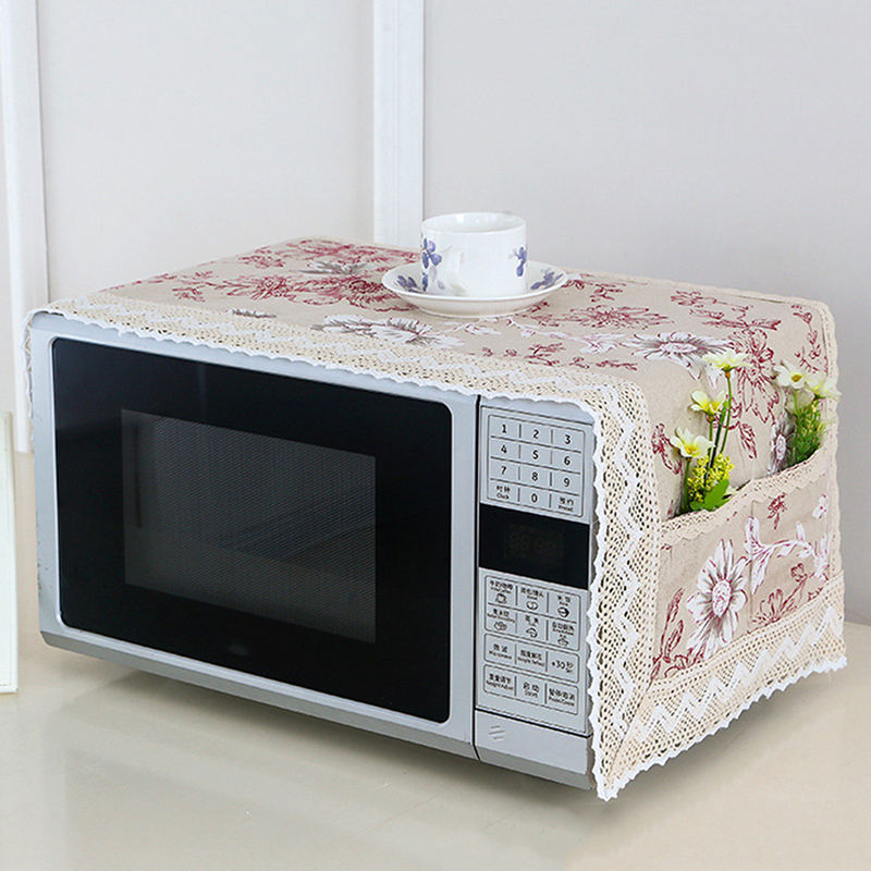 Household Kitchen Microwave Cover Linen Fabric Dust-Proof And Oil-Proof Microwave Oven Protective Cover Kitchen Accessories