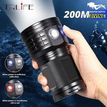 Ультра яркий Дайвинг флэш светильник светодиодный подводный 500 м светодиодный погружной фонарь светильник водонепроницаемый фотография Белый Синий Красный 18650 лампа