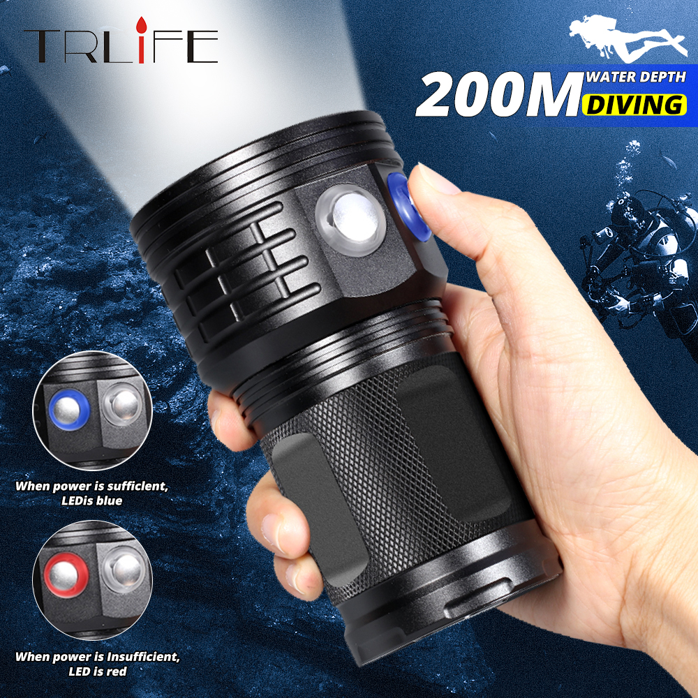 Ultra Bright Diving <font><b>Flashlight</b></font> LED Scuba Underwater 500M LED Dive Torch Light Waterproof Photography White Blue Red <font><b>18650</b></font> Lamp image