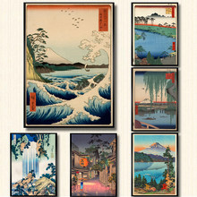 Vintage Japanese Landscape Poster Prints Wave Kanagawa Art Canvas Painting Wall Pictures For Living Room Oriental Home Decor