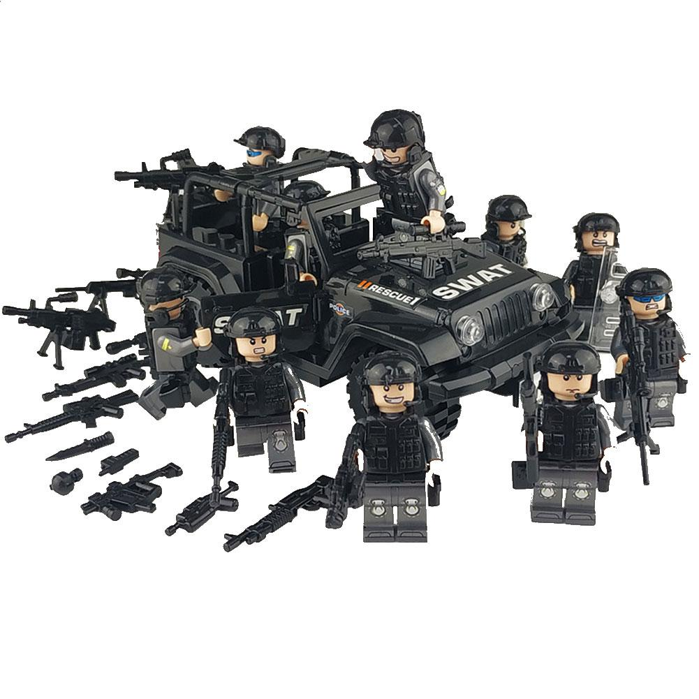 Military Special Forces Soldiers Bricks Figures Car Guns Weapons Armed SWAT Building Blocks Kids Toys Compatible Legoings