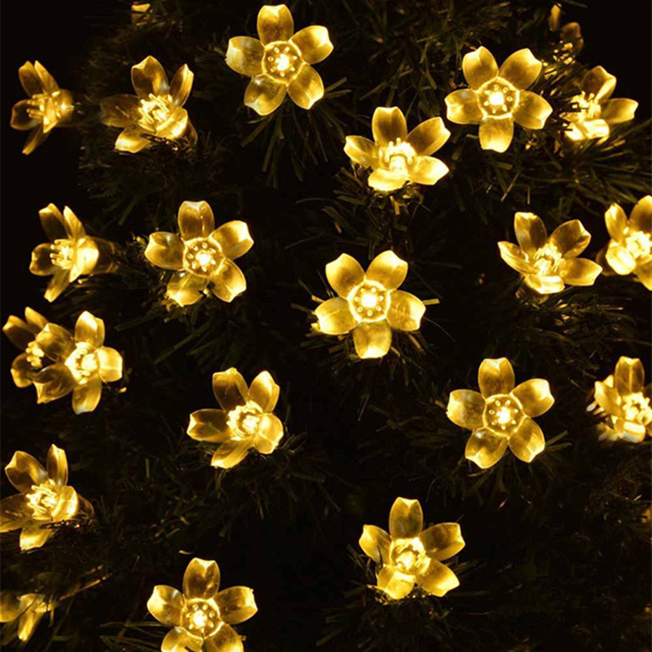Waterproof LED Solar String Flowers Fairy Lights Solar String Lights Decorated Christmas High Brightness Low Consumption