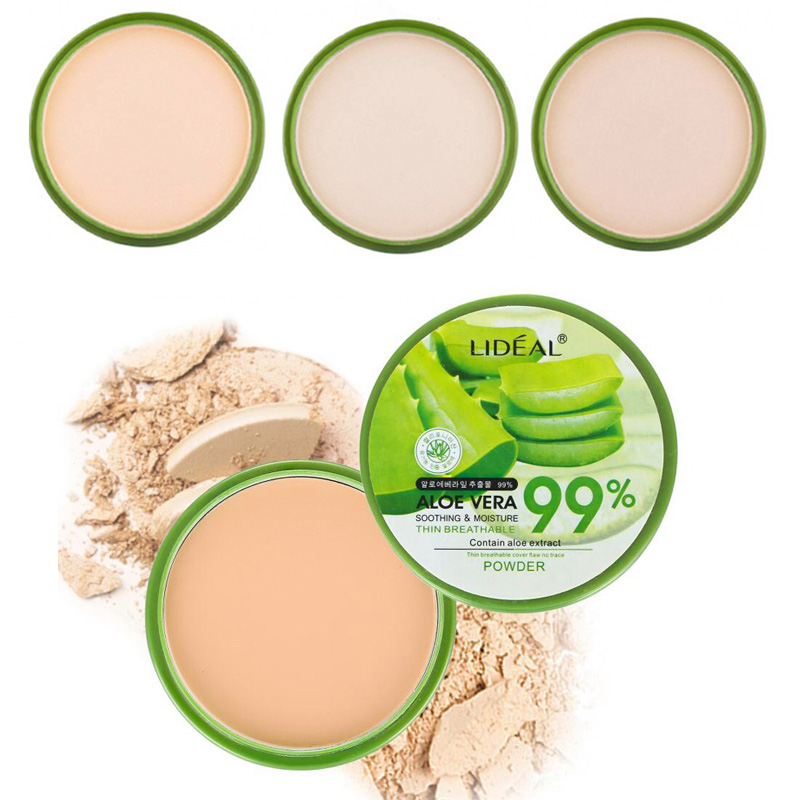 Waterproof 99% Aloe Vera Moisturizer Face Powder Smoothing Pressed Powder Breathable Makeup Concealer Brighten Foundation image