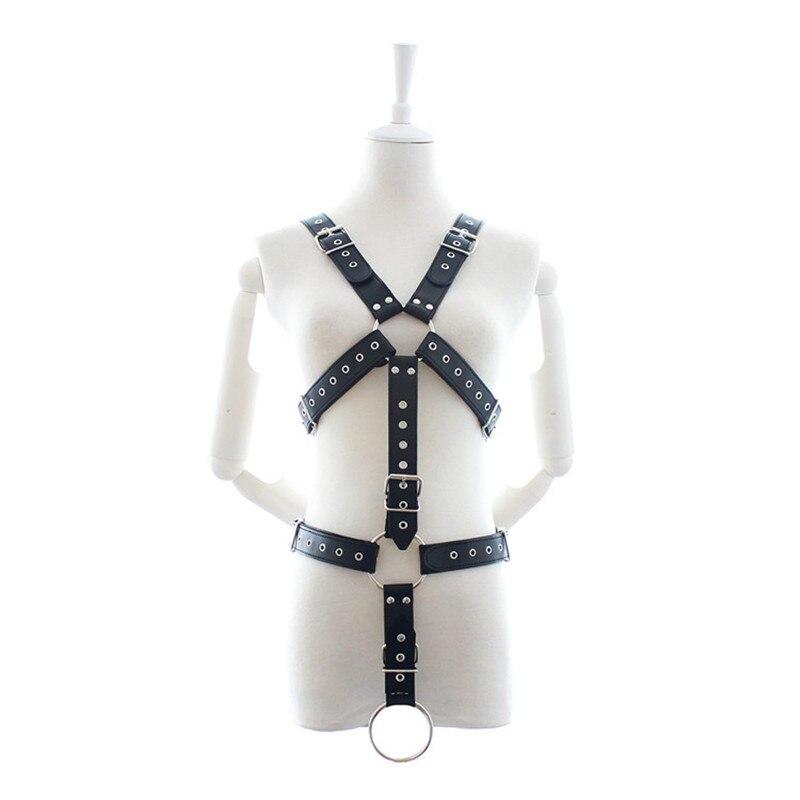 Costumes Men Sexy Lingerie Fetish Sex Bondage Restraint Harness PU Leather Male Body Harness Chest Belt Clubwear Erotic