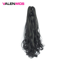 Valentwigs 22'' Long Wavy Claw Ponytail Clip On Synthetic Hair Extensions Pure Color Wrap Around Jaw in piece