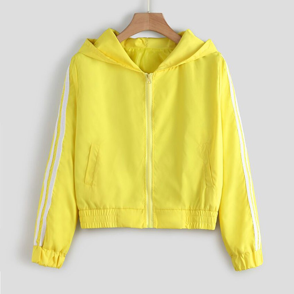 Hooded Jacket Coats Windbreaker Zipper-Pockets Female Autumn Yellow Casual Women Long-Sleeves title=