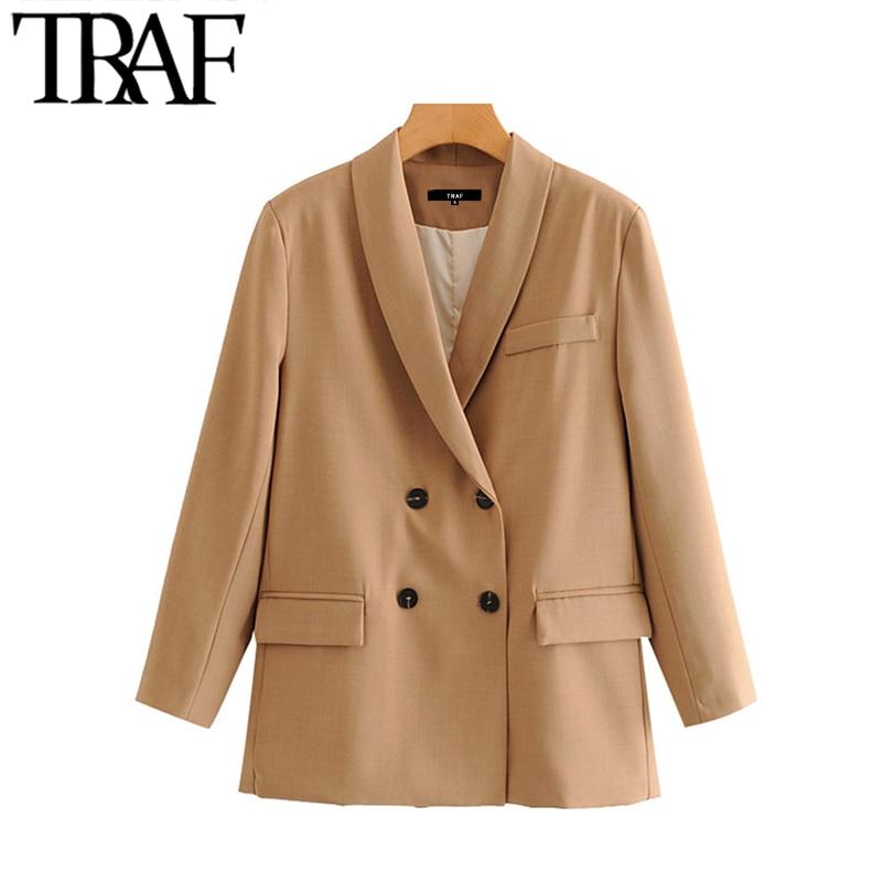 TRAF Women Fashion Office Wear Double Breasted Blazer Coat Vintage Long Sleeve Pockets Female Outerwear Chic Tops