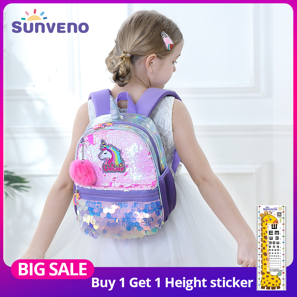 Sunveno Reversible Sequin Bag Backpack Unicorn Girls School Bags Kindergarten Schoolbag Best Gift For Girls