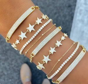Image 5 - 2019 New fashion Christmas gifts gorgeous women luxury jewelry with sparking bling cz star starburst charm hand chain bracelets