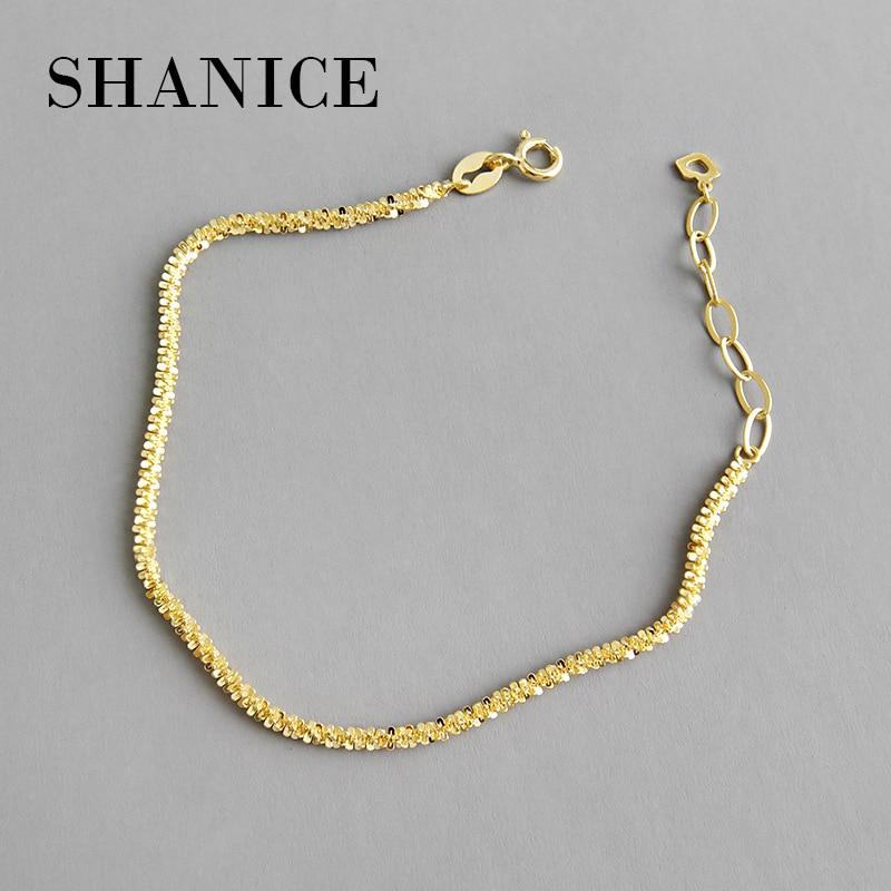 SHANICE Genuine 100% 925 Sterling Silver Chain Punk Temperament small star cauliflower Bracelets for Women Fashion Simple Wrist