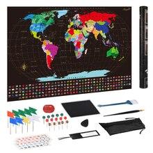 Большой размер скретч мира карта путешествий 82*59 см стикер стены плакат ярких цветов подробный дневник планировщик подарок для путешественников