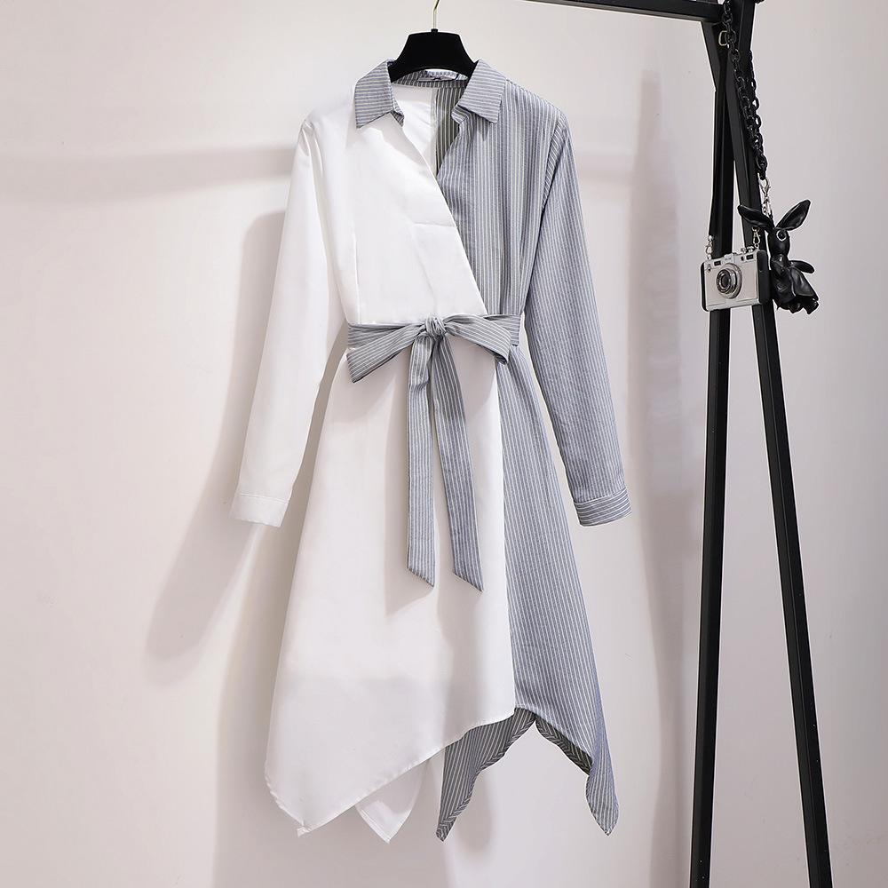 2XL-6XL Large Size Women Autumn Dress 2019 Casual Striped Long Sleeve Patchwork Irregular 5XL Office Lady