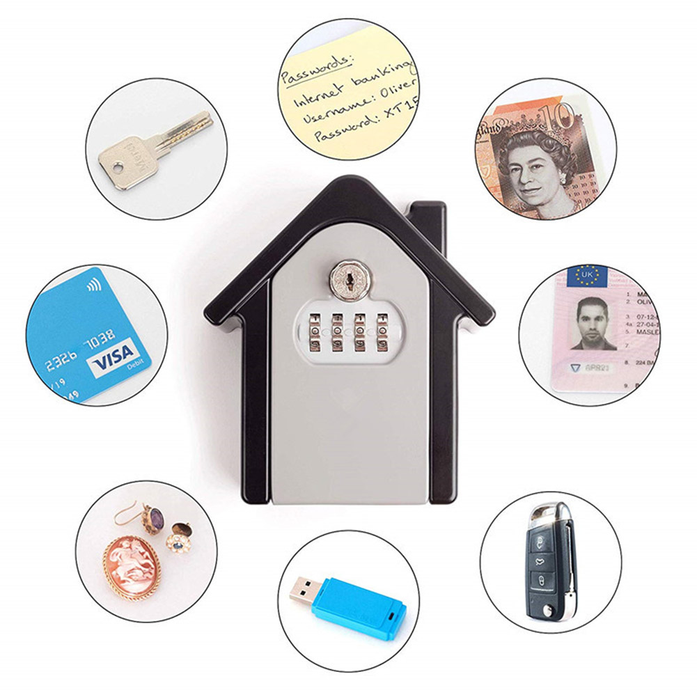 Key Lock Box With Waterproof Case Wall Mount Metal Password Box For Home Business  QJY99