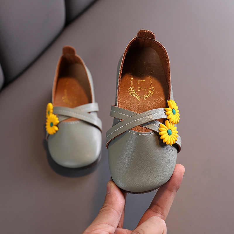 אביב סתיו בנות נעלי פרחים להחליק על נעלי ילדים דירות עור מפוצל Singler נעלי ילדי דירות נסיכי נעלי תינוק פעוטות