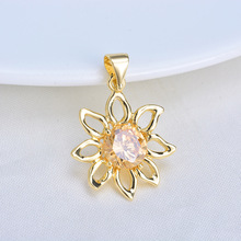 (333) 6PCS 19x25MM 24K Gold Color Plated Brass with Zircon Sun Flower Pendants Charms High Quality DIY Jewelry Making Findings