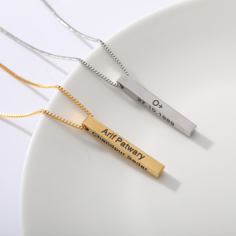 Customized Bar Name Necklace For Women Girls Four Sides Stainless Steel Silver Gold Chain Engraving Necklace BFF Custom Jewelry