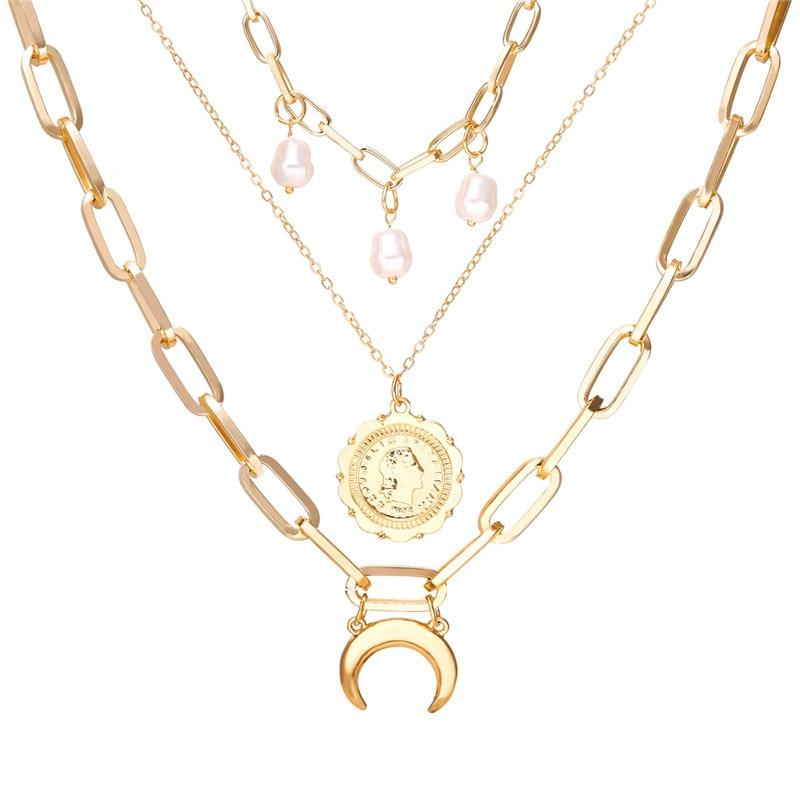 17 км винтажная Золотая монета с портретом, жемчужное ожерелье с подвеской s для женщин, богемное Модное Длинное Ожерелье из муклтилятора с жемчугом, ювелирное изделие - Окраска металла: CS5212
