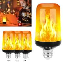 Efeito de chama led decorativo lâmpada led chama dinâmica luz e26 e27 b22 gravidade indução lâmpada chama simulação efeito noite luz