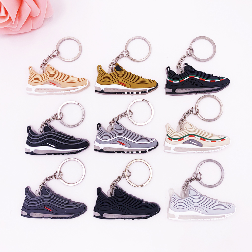 New Cute Mini Silicone Shoes Keychain Woman Bag Charm Max 97 For Men Kids Key Ring Gifts Sneaker Accessories Air Shoes Key Chain