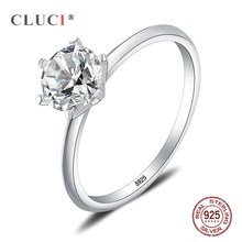 CLUCI Classic Silver 925 Six Claw Ring For Women Sterling Zircon Engagement Wedding Jewelry