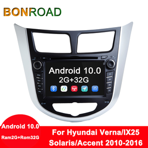 Image 1 - Bonroad אנדרואיד 10 Ram2G + Rom32G מולטימדיה לרכב נגן DVD לרכב עבור Solaris ורנה אקסנט 2010 2016 רכב GPS רדיו וידאו ניווט