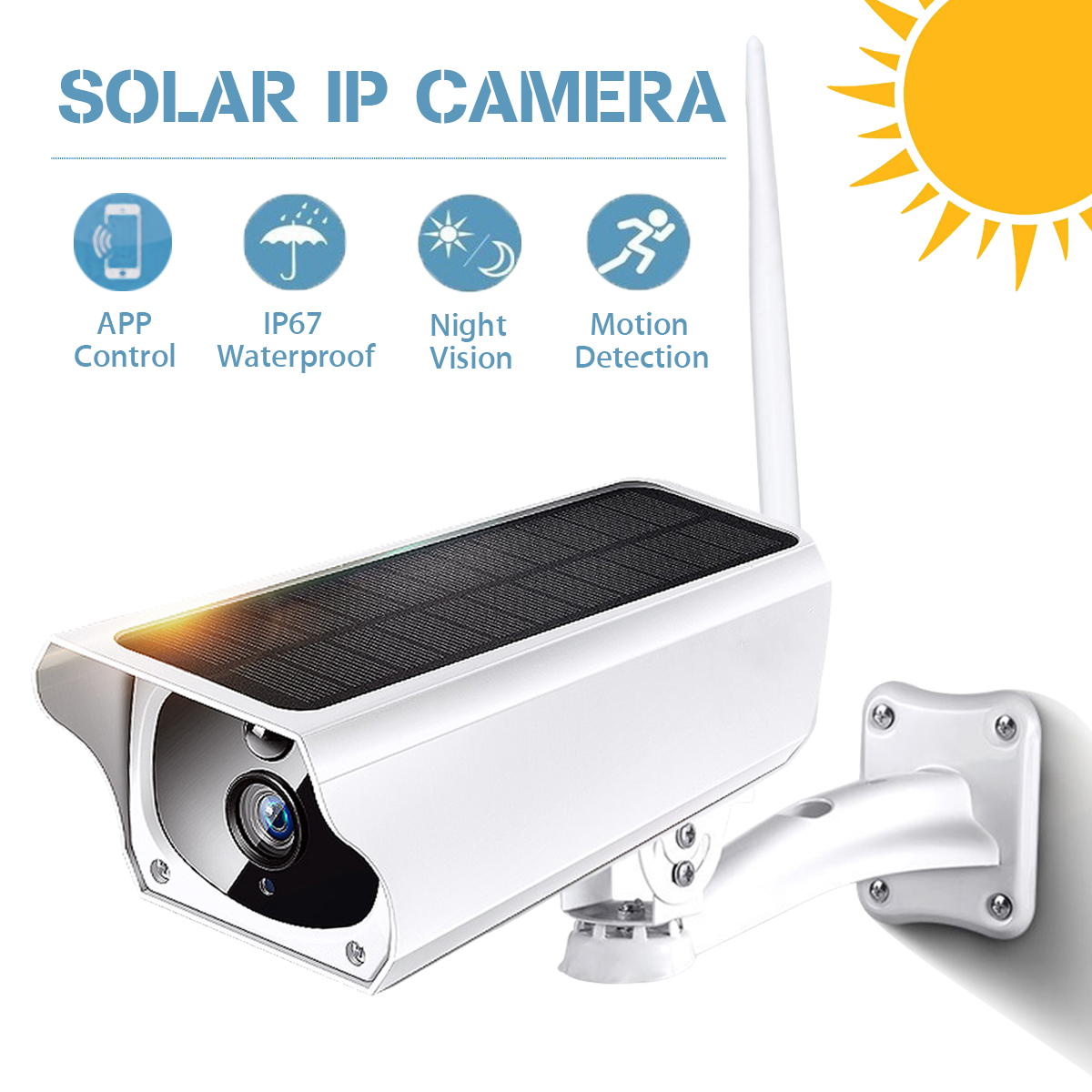 1080P Solar WiFi IP Camera Outdoor Battery Wireless Infrared Security Camera PIR Motion Detection Surveillance CCTV Home Monitor