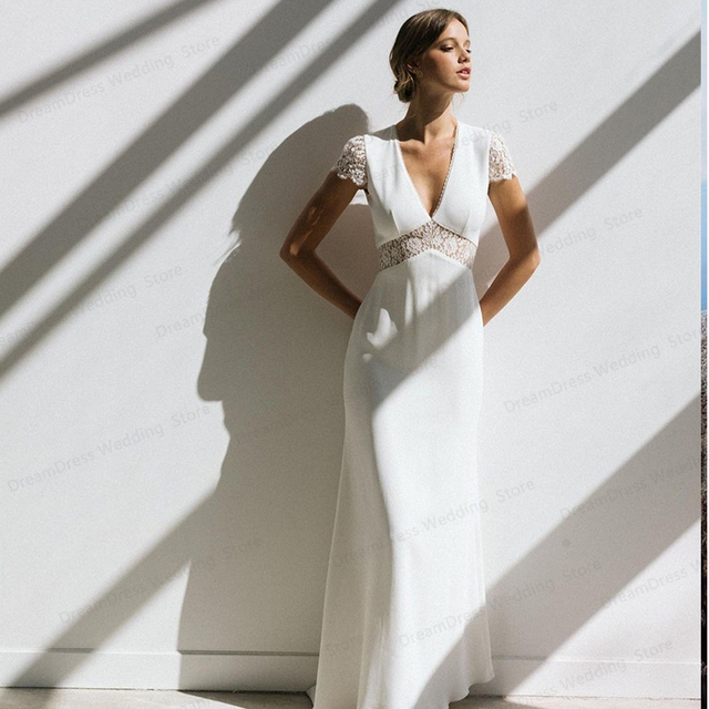 Vintage Boho Wedding Dress Short Sleeve A-Line Backless Lace Court Train Robe De Mariee Stunning Charming For Women Civil Cheap 3