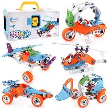 132pcs Creative Detachable 5 Models DIY Building Block Soft Rubber Toys For Children Helicopter Car Assembling Blocks 1