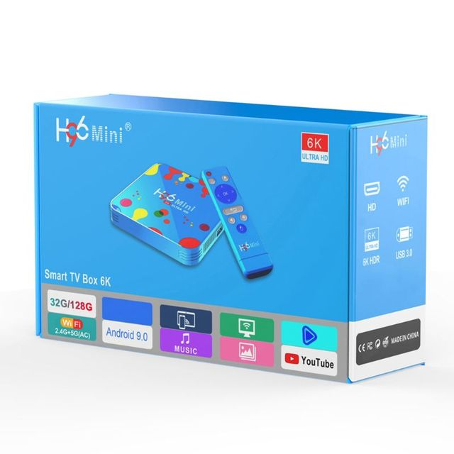 1Set 4GB 32/128GB H96 Mini for Android 9.0 Smart TV Box H6 Quad Core 6K Wifi Multi Language HD Player Set Top Box
