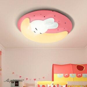 Lámpara Led de techo Ins Rabbit para niños, lámparas de dormitorio, bonito Animal, lámpara de Luna, modernas lámparas de techo, habitación de princesas, decoración de luz