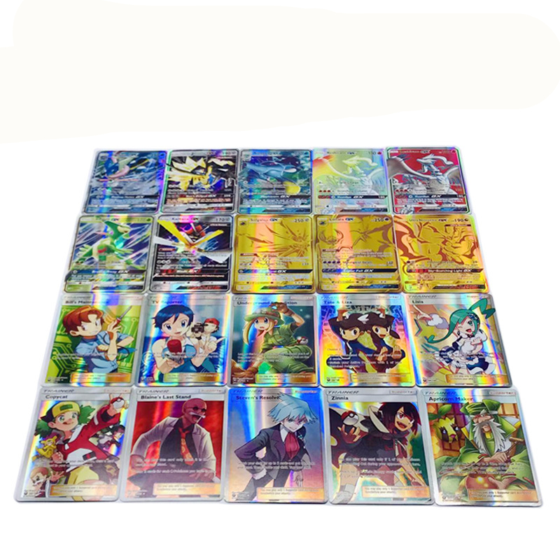 100pcs (70 GX +20 MEGA +10 TRAINER ) New Game Collection Cards For Funs Children Gift English   Pikachued Toys
